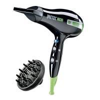 Imetec 1000 SE1 100 Asciugacapelli con Tecnologia Eco Efficiency, 1400 W, 8 Combinazioni Aria/Temperatura, Diffusore per Capelli Ricci, Nero/Verde