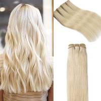 60cm Extension Matassa Capelli Veri Tessitura Lisci Biondi Grado 7A - 100% Brazilian Virgin Human Hair Naturali Umani Brasiliani, 60# Biondo Platino 100g