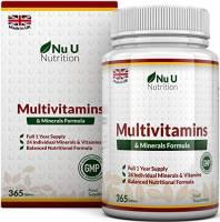 Integratore Multivitaminico e Multiminerale - 365 Compresse (Fornitura Fino A 1 Anno) - 24 Vitamine e Minerali per Uomini e Donne, Adatto ai Vegetariani - Integratori alimentari Nu U Nutrition