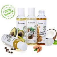Skymore Top 4 Set Olio Pure Carrier (olio di mandorle, olio di cocco, olio di avocado, olio di ricino), Olio Carrier puro per capelli e unghie, olio di base, 1 confezione (4x118 ml)