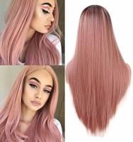 Parrucca Lunga Arancione Rosa Dritto Fashion 2 Tono Resistente al Calore Sintetico Ombre Parrucca per le Donne 55,9 cm
