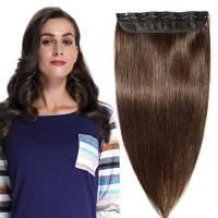 Extension Clip Capelli Veri Fascia Unica 40cm 45g #2 Marrone Scuro 100% Remy Human Hair Naturali Lisci Umani