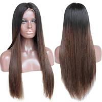 Parrucca anteriore di capelli veri Zanawigs senza colla, liscia coma seta, due toni ombra, parrucche brasiliane con capelli di bambini