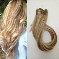 Clip in set da extension, 100% veri capelli, 7 parti in 38, 45, 50 o 55 cm di lunghezza (38cm, No.12/613 Marrone dorato - Luce bionda)