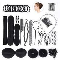 FEPITO Hair Styling Design Accessories Set Strumento di modellazione dei capelli Kit Spiral Hair Bun Maker Strumento Braid per le ragazze Le donne Fashion Hair Design fai da te