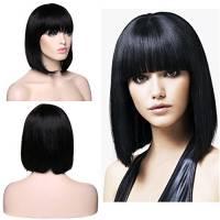 "Parrucca Bob da Donna Capelli Umani Veri Lunghi Lisci - Remy Human Hair Wig Straight 130g - 12"" 30cm Nero Naturale (Senza Pizzo)"
