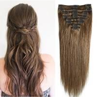 20-60cm Extension Capelli Veri Clip Remy Human Hair Lisci Lunghi Testa Piena Parrucca Vera (55cm-110g #6 Castano)