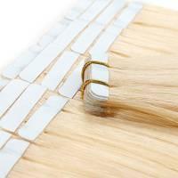 Extension Capelli Veri Adesive Bionde Riutilizzabili - 20 Fasce 50g #613 Biondo Chiarissimo - 100% Remy Human Hair Umani Peruviani Lisci Lunghi
