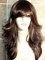 Forever Young, parrucca lunga da donna stile taglio scalato, colore castano cioccolato con sfumature biondo miele