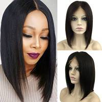 "Parrucca Donna Capelli Veri BOB Lace Front Wig Naturale Umani Brasiliani Remy Human Hair Lisci 130% Densità Lace Frontale Wigs, 10""/25cm 145g"