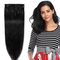 40cm Extension Capelli Veri Clip 8 Fasce 18 Clips 100% Human Hair Testa Intera 01# Jet Nero