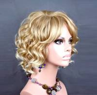 Awesome lovely breve parrucca riccia bionda mix Summer Style Skin top Ladies Wigs UK