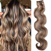 Myfashionhair Clip In Hair Extension Body Wave Remy Hair Extension 7 pezzi 70Gram/2.45oz (45cm,#4-27-bw)