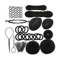 Langediao Set strumento ciambelle chignon, attrezzo per dare volume dei capelli, forcine + ciambelle + spugna + elastici, fermacapelli accessori per acconciature treccia capelli