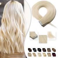 40cm Extension Capelli Veri Adesive 20 fasce 50g/set Remy Human Hair Tape in Lisci Umani Riutilizzabile Seamless, #60 Biondo Platino