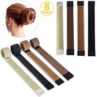 8PCS accessori per capelli, ivencase Ciambelle per chignon 4 colori ragazza donna Fashion Hair Styling Clip Hairstyle DIY Tool Bun maker French Twist Hair - Ciambella Capelli