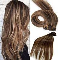 Clip in set da extension, 100% veri capelli, 7 parti in 38, 45, 50 o 55 cm di lunghezza (45cm, No.4/27 Medio marrone - bionda miele)