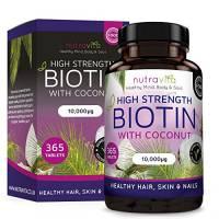 Biotina con Olio di Cocco (Fornitura di un anno) Integratore per la Crescita dei Capelli con Biotina 10,000 MCG di Nutravita - 365 Compresse