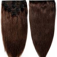 25-55cm 110g-160g Double Weft Extension Capelli Veri Clip Full Head - 100% Remy Human Hair Capelli Umani (35cm-120g, 02# Dark Brown)