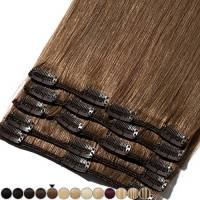 Extension Capelli Veri Clip 8 Fasce Remy Human Hair Full Head XL Set Lisci Lunga 8 pollici 20cm Pesa 65grammi, #6 Castano