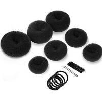 Set per chignon, 7 pezzi Hair Donut Bun Maker Ring Style Hair Design Tools for Women Girls Chignon Acconciature per ballerina Balletto Kids Girls con 5 elastici per capelli, 10 Pcs Pins