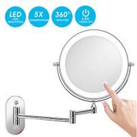 alvorog Specchio Ingranditore da Trucco con Luce LED, Lente d'Ingrandimento 5X,Specchio per Il Trucco,Ruota di 360°,Cromato in Metallo