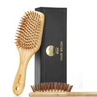 BFWood Spazzola Capelli in bambù per massaggiare il cuoio capelluto – manico grande