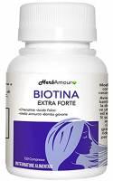 HerbAmour Biotina Extra Forte I Integratore Per Capelli Donna I Effetto Anticaduta, Rinforzante, Crescita I Vitamine Con Biotina, Cheratina, Mela Annurca, Acido Folico e Bambù I 120 Compresse