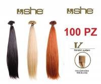 SHE 100PZ HAIR EXTENSION CIOCCHE CHERATINA CAPELLI VERI CM.55/60 NATURALI 100% REMY