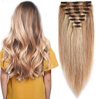 Extension Clip Capelli Veri Volumizzante - 25cm 110g - 8 Fasce Folte Double Weft Full Head 100% Remy Human Hair Lisci, 18/#613 Beige Sabbia Biondo/Biondo Chiarissimo