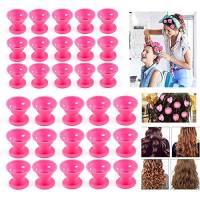 ZWOOS 30 Pcs Bigodini Silicone, Bigodini Arricciacapelli, Senza Sforzo e Senza l'uso del Calore Rullo Arricciacapelli, Flessibile e Pieghevole per Acconciatura Capelli DIY, 2 Dimensioni(Rosa)