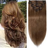 """Extension Clip Capelli Veri Lisci 8 Fasce 100% Remy Human Hair con 18 Clips - #6 Marrone Chiaro - Estensioni Tutta la Testa Parrucche da Donna - 25cm 10"""" 75g"""