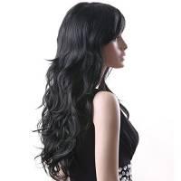 SONGMICS Nuova Parrucche Donne lungo nero WFF041