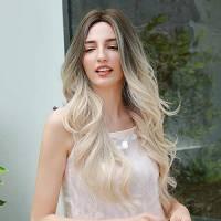 HAIRCUBE Lunga parrucca loop ombra radici bionde con parrucca bianca per il festival delle donne Cosplay di Halloween e uso quotidiano