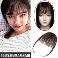 Extension Frangia Clip Capelli Veri Frangetta Fascia Unica Air Bangs Sottile 100% Remy Human Hair Lisci Hair Bang Fringe Naturale -#2 Marrone Scuro