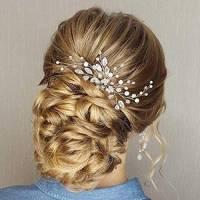 Simsly, fermagli per capelli da sposa, accessori per capelli con cristalli per sposa e damigelle d'onore (argento) FS-28