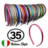 35 Cerchietti per Capelli Renmex In Sacchetto Richiudibile Per Bambina Ragazza Alta Qualità Fasce Coperte da Nastro Tessuto Raso Tanti Colori Accessori Aspetto Abbigliamento Fashion Moda Hair Style