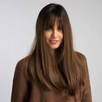HAIRCUBE parrucche diritte Ombre da 20 pollici di natura per le donne bianche Radice nere con parrucche sintetiche di capelli marroni con il Bang spuntato