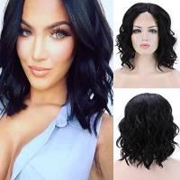 Lace Front Wig Parrucca Donna Nera Corta Ondulata Posticci Capelli Mossi RIcci Sintetici Loose Body Wave