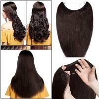 Extension Capelli Veri Filo Invisibile 40cm-55cm #2 Marrone Scuro - Extensions Fascia Unica con Wire Trasparente Senza Clip 100% Remy Human Hair Lisci Naturali Umani 40cm 60g