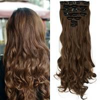 S-noilite® Set 8pcs 43cm extension capelli clip nelle estensioni dei capelli della parte dei capelli ondulato o liscio pieno Testa vari colori Marrone chiaro