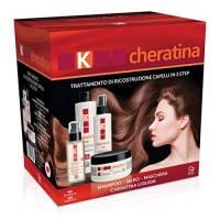 K-Cheratina - Trattamento Professionale Capelli Deboli e Sfibrati - Contiene lo Shampoo Ristrutturante, il Siero ad Azione Riempitiva, la Maschera Ricostruzione e la Cheratina Liquida Ultra-Nutriente