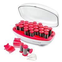 Valera Quick 24 Plus 605.02, Scaldabigodini 24 bigodini riscaldabili di 3 dimensioni (20 mm, 23 mm, 27 mm), con clip a farfalla e metalliche, Rosso e bianco