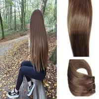 Myfashionhair Clip in capelli estensioni capelli umani 20in 70g 7 pezzi per set clip su castagna marrone trama setosa serica remy estensioni dei capelli veri