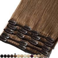 Extension Capelli Veri Clip 8 Fasce Remy Human Hair Full Head XL Set Lisci Lunga 10 pollici 25cm Pesa 75grammi, #6 Castano